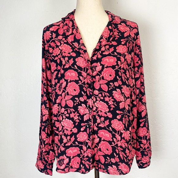 Lucky Brand Tops Black Floral Peasant